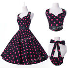 7 Style New 50s Polka Dot Rockabilly Party Swing Pinup Vintage Cotton Tea Dress