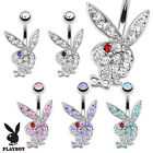 New Novelty Surgical Steel Playboy Rabbit Gem Belly Bar Naval Ring 1.6mm x 10mm