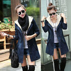 Korean Women Long Sleeve Denim Trench Coat Hoodie Jacket Hooded Jeans Outerwear