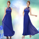 Ever Pretty Royal Blue Lace Halter Maxi Formal Evening Dress New 08170 Size 6-18