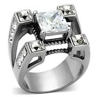 Polished Large New Stainless Steel Men's Square CZ Split Band Ring - Sizes 8-14