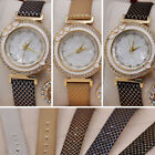 Bling Crystal Rhinestone PU leather Bracelet Quartz Women Lady Casual Wristwatch