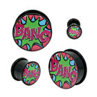 Comic book BANG! Single Flared Acrylic Plug O-Ring Gauge Pair CHOOSE YOUR SIZE