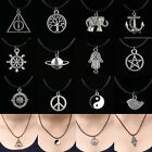 12 Style New Charms Tibetan Silver Pendant Necklace Choker Black Leather Cord