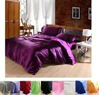 Luxury Solid Satin Duvet Cover With Pillow Case Bedding Set Quilt Cover