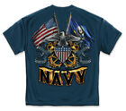 US Navy Double Flag W/ Shield High Quality T shirt  Print Both Sides