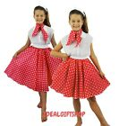 RED & WHITE GIRLS ROCK N ROLL CHILD CIRCLE SKIRT 50'S DANCE JIVE LINDY HOP
