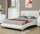 NEW LUCERNE II CONTEMPORARY WHITE BYCAST LEATHER FULL or QUEEN PLATFORM BED