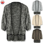 LADIES WOMENS OVERSIZED BAGGY OPEN CARDIGAN KIMONO CAPE TOP BATWING PONCHO SHAWL