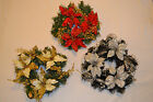 2 Christmas wreaths garland swag baubles berries poinsettia cones decoration