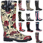 NEW WOMENS FLAT WELLIES WELLINGTONS KNEE HIGH RAIN BOOTS US 5-10