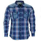 Mens Soulstar Washed Denim Check Plaid Long Sleeve Oxford Shirt Size