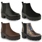 NEW WOMENS LADIES CHUNKY CLEATED SOLE ELASTIC PULL ON CHELSEA ANKLE BOOTS SHOES