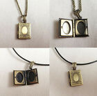 Vintage Bronze Necklace or Leather Pendant   Photobook Locket Ladies Gift
