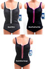 NEW $105 REEBOK SEXY SPORT V NECK RUCHED SHAPING ZIPPER FRONT ONE PIECE SWIMSUIT