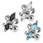New Novelty Fleur De Lis Tragus Helix Cartilage Gem Bar Stud Aqua Clear Black