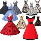 *50's ROCKABILLY* Vintage Retro Swing Pinup Housewife Casual Party Short Dresses