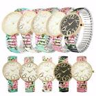 New Fashion Retro Wome's Rose Flower Dial Elastic Watchband Quartz Wrist Watches