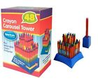 48 COLOURED CRAYONS CAROUSEL TOWER DETACHABLE SHARPENER CHILDRENS CRAFT DRAWING