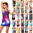 Sexy Women Sleeveless Graphic Printed Bodycon Cocktail Party Vest Dress Sundress