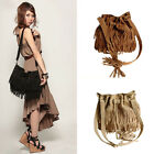 Women Vintage Shoulder Bag Fringe Tassel Drawstring Bucket Bag Messenger Handbag