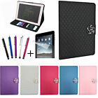 For iPad - LEATHER QUILTED CRYSTAL ROSE FLOWER AUTO SLEEP WAKE FOLIO CASE COVER