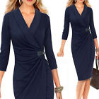 2015 Fashion Ladies V Neck Pleated Wrap Wiggle Dress Cocktail Party Pencil Dress