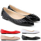 Fashion Womens Faux Leather Patent Flats Dolly Pumps Rivets Shoes UK Size 2 - 9