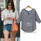 Summer 3/4 Sleeve Chiffon Lady Star Print Casual Loose Shirt Top Blouse Pullover
