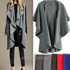 Womens Cape Black Batwing Wool Poncho Jacket Lady Winter Autumn Warm Cloak Coat