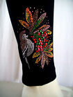 REGULAR OR PLUS SIZE LEGGINGS Embellished With Rhinestone & Stud Festive Birds