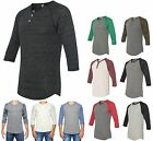 MEN'S TWO COLOR, HENLEY BASEBALL T-SHIRT, 3/4 SLEEVE, 3 BUTTON, XS S M L XL 2X