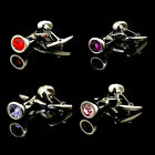 Deluxe Men Circle Customized Initials Crystal Stainless Steel Silver Cuff Links
