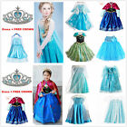 Kids Girls Disney Elsa/Anna Frozen costume Princess party dress Cosplay + CROWN