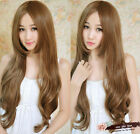 Cosplay Party Women Lady Elegant 4 Colors Long Wavy Hair Middle Part Full Wigs