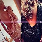 Fashion Womens Hot Sexy Sequins Bling Open Backless Bodycon Party Cocktail Dress
