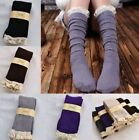 Crochet Lace Trim Cotton Footed Leg Warmers Boot Sock Knee High Stockings Winter