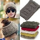 Cute Korean Winter Warm Women Braided Knit Wool Hat Cap Headband Hair Bands