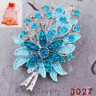Colorful Tree Flower Crystal Rhinestone Silver Brooch Pin for Christmas Gifts