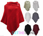New Ladies Women's Cable Knitted Poncho Sweater Jumper Top UK Plus Size Fits All