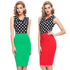 CHEAP ❤VINTAGE Rockabilly Polka Dots Pencil Pin Up Evening Prom Dress Plus Size