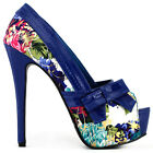 Blue/Teal Floral Pattern Bow Peeptoe Platform Party Pumps Size 5/6/7/8/9/9.5/10