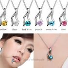 One Set Women's Elegant Silver Plated Austrian Crystal Bridal Necklace Earrings