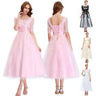 VTG Retro Lace Applique Evening Prom Party Rockabilly Homecoming Dresses Lace Up