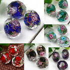10Pcs Czech Lampwork Glass Faceted Rondelle Loose Spacer Beads Foil Rose Flower
