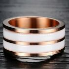 NEW 10mm Mens White Ceramic Inlay Rose Gold Titanium Band Ring Comfort Fit