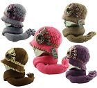 Women's Flower Applique Studs Knitted Cloche Hat + Scarf 2 pcs.Combo Set