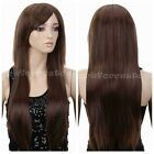 Women Fashion Girl Ladies Long Straight Hair Full Wig/Wigs Brown Heat Resistant