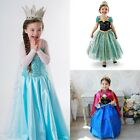 Frozen Elsa Anna Costume Princess Girl Kid's Fancy Outfit Long Dress for party