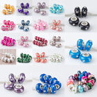 MB~Crystal Polymer Clay European Charm Big Hole Beads Findings Fit Bracelet